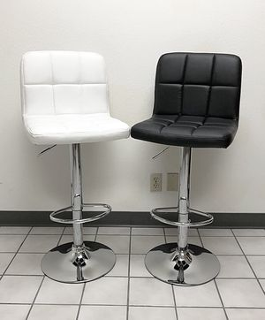 New $40 each Square Barstool Chair Swivel Adjustable Bar Stool PU Leather Color: White/Black for Sale in South El Monte, CA