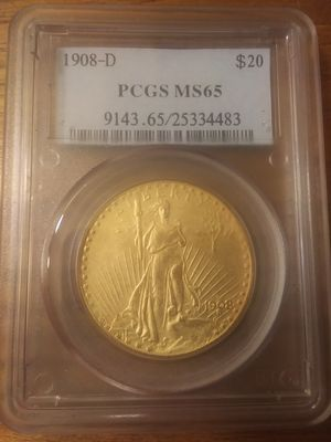 1908 D $20 St. Gaudens PGCS graded for Sale in Chicago, IL