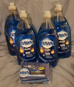 Dawn Ultra Dishwashing Liquid Dish Soap (4 Bottles) - Dawn Scrub Sponge No Scratch (2 Pack) - Brand New - Pick Up Northside for Sale in Chicago, IL