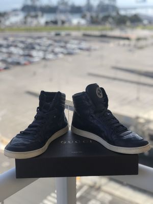 GUCCI Men's GG Imprime High Top Lace-Up Blue Sneakers Size US 11 for Sale in Huntington Beach, CA