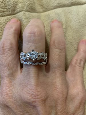 New 2 piece CZ sterling silver 925 wedding ring size 8 for Sale in Palatine, IL