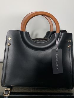 Black Laura Ashley Tote With Wooden Handle for Sale in Marietta,  GA