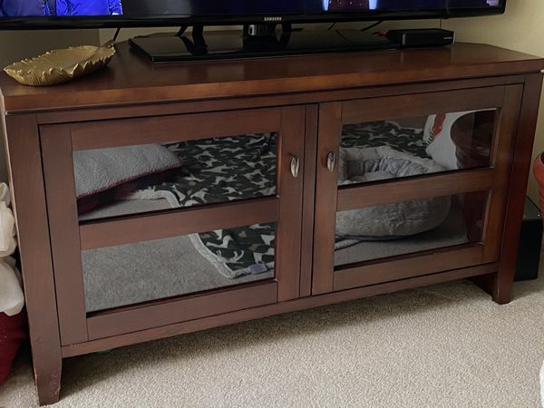 Pottery Barn TV console with shelf