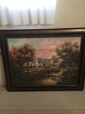 Wall hanging larg beautiful frame hand painted for Sale in Alexandria, VA
