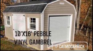 New 10' x 16' Pebble Beige Vinyl Gambrel Shed with Garage Door for Sale in Lynnfield, MA