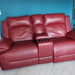 Red Leather Dual Recliner Couch Loveseat With USB Charging Cupholders for Sale in Redondo Beach, CA