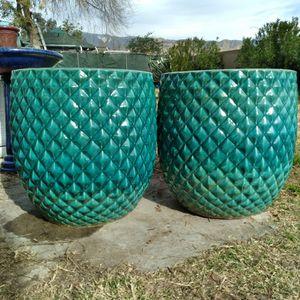 "New Planting Pots ""Aqua 20""&15"" Pinequilt Ceramic Planters"" 3 Pc Set $120😷 for Sale in Highland, CA"