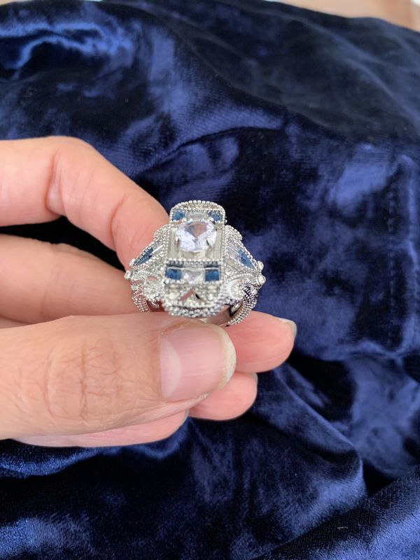 Vintage silver blue sapphire women wedding engagement ring jewelry