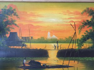 Beautiful oil painting the sunset big size for Sale in Melbourne, FL