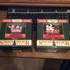 1995 Coca Cola North Pole Bottling Works Express Stocking Holders. 2 Holders for Sale in Garland, TX