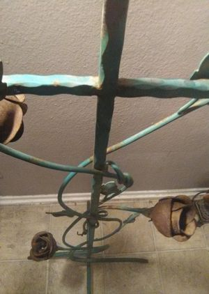 Antique French wrought iron cross candelabra with raw metal flowers for Sale in Placentia, CA