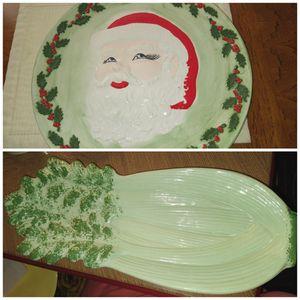 Christmas Santa Platter and Celery Platter for Sale in Warwick, RI