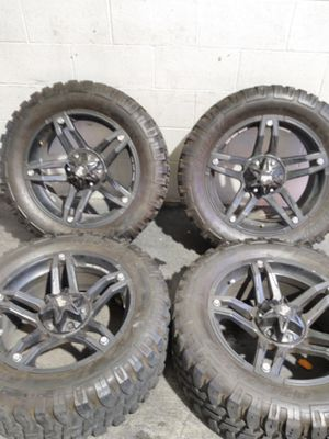 """20"""" off road rims with mud terrain tires for Sale in Las Vegas, NV"""