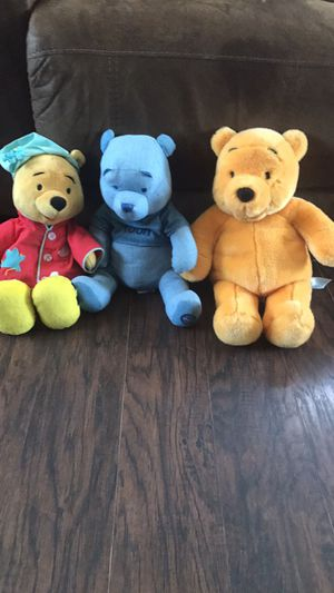 Three Winnie the Pooh stuffed animals the naked one is from build a bear workshop for Sale in Tinley Park, IL