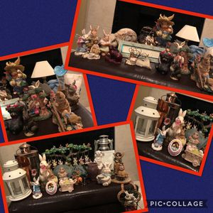 Big Lot Bunny Rabbit Collection, Figurines, Ceramic Hopping Hair, Vintage Lanterns, Lamps, Home/Garden Decor, Easter, Nature Set for Sale for sale  Katy, TX