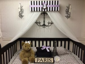 Crib nursery bed bedroom decor sheer curtains for Sale in Belvidere, IL