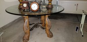 AICO round glass dining room kitchen table for Sale in Corinth, TX