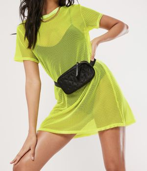 Missguided neon yellow oversized fishnet t shirt dress for Sale in Vallejo, CA