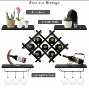 Set of 5 Wall Mount Wine Rack Set w/ Glass Holder and Storage Shelves Black for Sale in Bell Gardens, CA