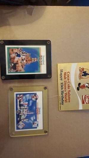 Coca-Cola Salutes Walt Disney World Happy 15th Birthday Plaque Pin + two 1991 Disneyland Promo Cards for Sale in Ontario, CA