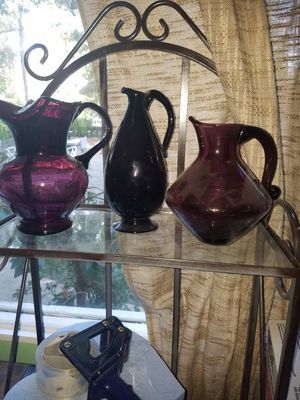 Hand blown purple glass pitchers for Sale in San Gabriel, CA