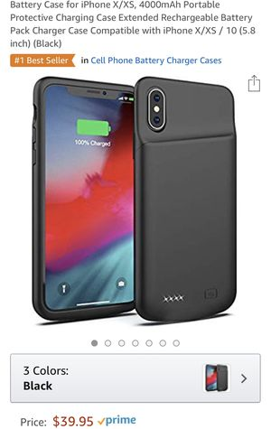 Battery Case for iPhone X/XS, 4000mAh for Sale in Apex, NC