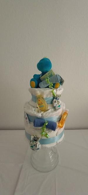Baby Shower Gift/Tier Dinosaur Diaper Cake for Sale in Tampa, FL