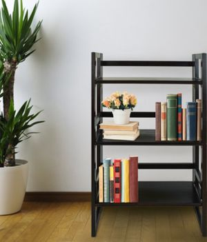 New!! Foldable 3 shelves bookcase, bookcase, bookshelves, organizer, storage unit , shelving display, living room furniture, espresso for Sale in Phoenix, AZ