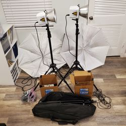 Alien Bees B800 Flash Pair w/ Camera Studio Stands, Umbrellas - NICE! for Sale in FL,  US