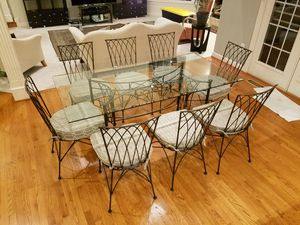 "dinning room suite with 8 chairs and large glass top 72"" x 36"" for Sale in Elkridge, MD"