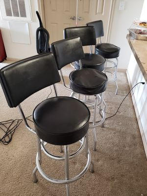 4 black bar stools..two stools would need new foam padding. for Sale in Houston, TX