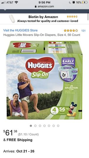 Two packs of huggies slip on diapers size 5 for Sale in Collingdale, PA