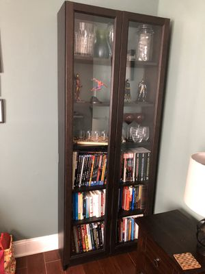 Glass (IKEA's Billy) Bookcase, Brown Wood for Sale in Crofton, MD