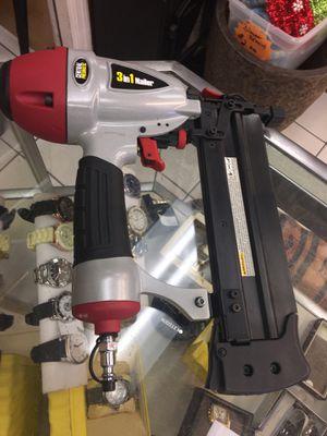 Central pneumatic 16/18 gauge 3-in-1 air nailer stapler nail gun for Sale in Orlando, FL