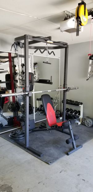 Weider Power Tower, bench, barbell, and plates for Sale in Elk Grove, CA