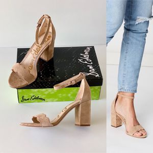 ✨New SAM EDELMAN Odila Camel Suede Ankle Strap Heel Sandals Womens Shoes Size 7.5M for Sale in Sugar Land, TX