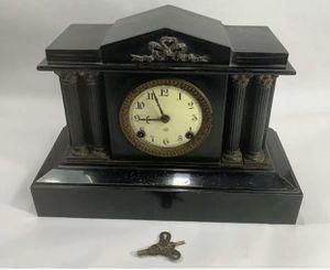 Antique 1882 ANSONIA Black Iron Victorian Pillar Column Mantel Clock #2945 With Key for Sale in Biola, CA