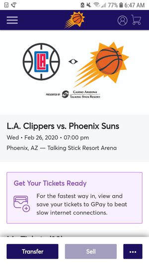 Phoenix suns vs la clippers tickets tonight for Sale in Phoenix, AZ