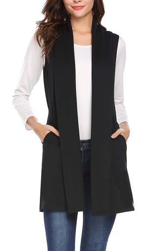 Beyove Womens Long Vests Sleeveless Draped Lightweight Open Front Cardigan Layering Vest with Side Pockets( XL) for Sale in Las Vegas, NV