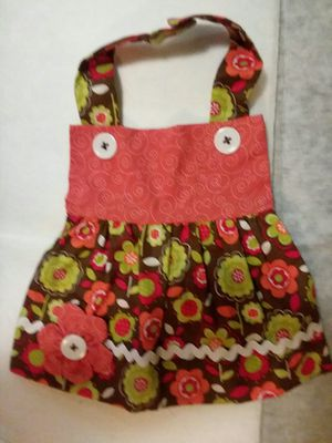 New Handmade Brown Orange Flower Apron Dress Girl Baby Bib for Sale in St. Louis, MO
