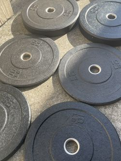 Bumper plates gym weights indoor gym Olympic deadlift weights rogue for Sale in San Leandro,  CA