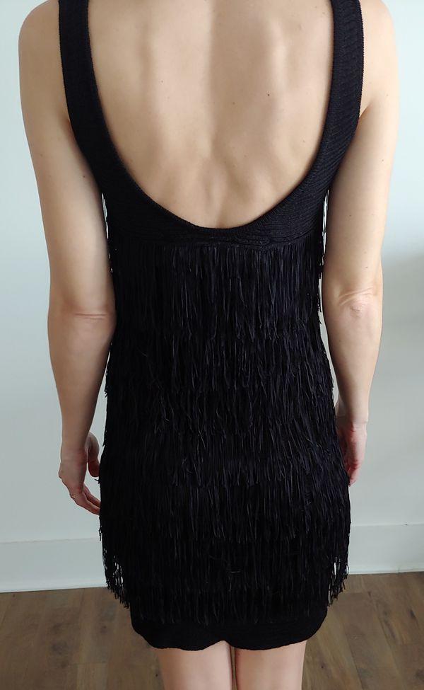 Chelsea and Violet Black Fringe Dress NWT