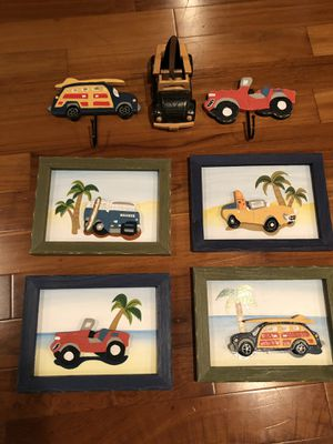 Pier One kids vintage beach decor. Three dimensional wood framed art, hooks, and convertible wooden model car with surfboard. for Sale in Crofton, MD