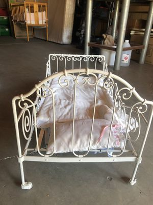 Beautiful antique photo prop baby crib/doll crib rod iron with caster wheels for Sale in Fullerton, CA