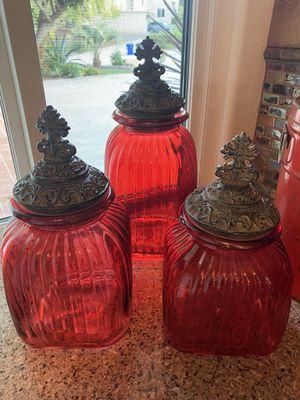 Red cookie jar - set of 3 for Sale in San Diego, CA