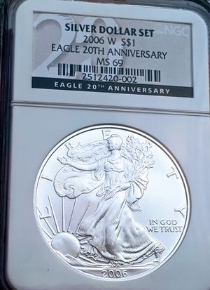 2006 Silver Eagle $ *NGC MS-69 *Blue Label *from- 20th Anniversary Set *RARE for Sale in Dalton, MA