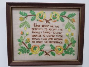 """Vintage needlepoint, medium size,""""Serenity Prayer"""", perfect gift for a person in AA /NA for Sale in Zion Crossroads, VA"""