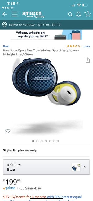 Bose SoundSport Free. Truly wireless sport headphones. Midnight blue/citron . for Sale in San Francisco, CA