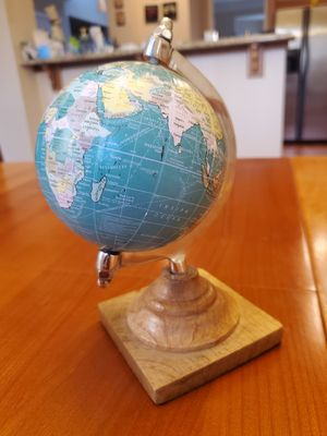 """Miniature Globe with Wood Base and Stainless Steel Arm 8"""" Tall for Sale in Duluth, GA"""