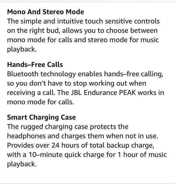 JBL Endurance Peak Wireless Earphones